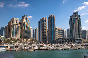 Фото ОАЭ Дубай Дома Небоскребы Пристань Лодки Яхта город