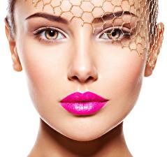 Фотографии Лица Модель Косметика на лице молодые женщины