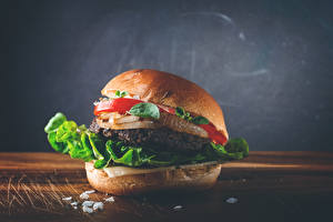 Обои Быстрое питание Гамбургер Овощи Вблизи Еда