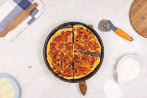 Фотография Фастфуд Пицца Сковорода Продукты питания