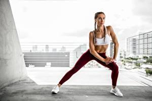 Фотография Фитнес Позирует Руки Ног Физическое упражнение молодые женщины