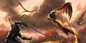 Фотография Геральт из Ривии The Witcher Монстры Воины Fan ART Меч Фантастика