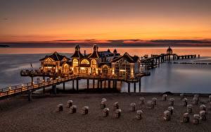 Обои для рабочего стола Германия Вечер Рассветы и закаты Причалы Rügen Природа