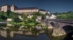 Картинка Германия Дома Реки Мост Замок Weilburg, Hessen Города