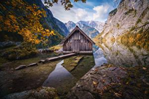 Обои для рабочего стола Германия Горы Озеро Здания Альп Отражении Деревья Obersee Природа