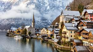 Фотографии Халльштатт Австрия Здания Озеро Gmunden County город