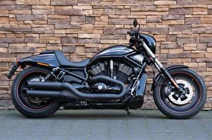 Обои Xарлей дэвидсон Стене Черные Сбоку VRSCDX, Night Rod Мотоциклы