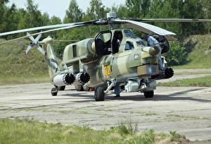Обои Вертолеты Камуфляж Русские Mi-28 Night hunter Авиация картинки