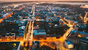 Фото Здания Вечер Литва Каунас Сверху город