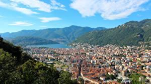 Фотография Италия Гора Дома Сверху City Como, Lombardy город