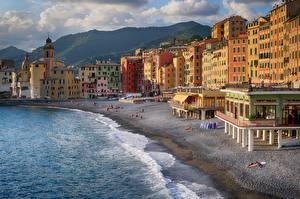 Картинки Италия Море Здания Побережье Лигурия Пляжа Camogli город