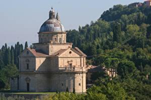 Обои Италия Тоскана Церковь Church Madonna di San Biagio город