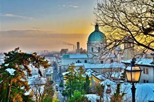 Картинки Италия Зимние Здания Собор Снега Деревья HDR Brescia Города