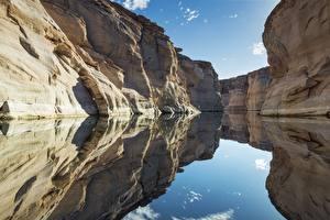Обои Озеро Америка Скала Отражение Lake Powell, Arizona