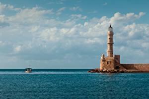 Фотографии Маяк Море Лодки Греция Горизонт Egyptian Lighthouse, Crete Города