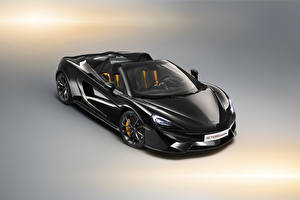 Обои Макларен Черные Металлик Родстер 570s Автомобили