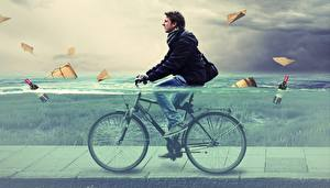 Фото Мужчины Воде Велосипед
