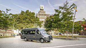 Картинка Мерседес бенц Автобус Серый 2019 Sprinter Transfer Автомобили