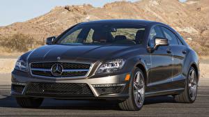 Фото Mercedes-Benz Черный Спереди Металлик CLS машины