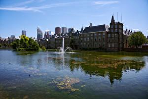 Фотографии Нидерланды Здания Фонтаны Залива Hague Города