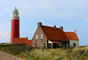Обои Голландия Здания Маяк Траве island Texel Города