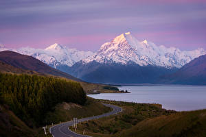 Картинки Новая Зеландия Гора Дороги Озеро Lake Pukaki, Mount Cook