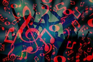 Картинка Ноты Текстура Люди Танцуют