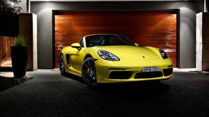 Фотографии Porsche Спереди Желтых Металлик Родстер Boxster машина