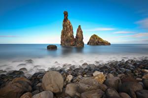 Картинка Португалия Побережье Камни Утес Madeira, Ilheus da Rib