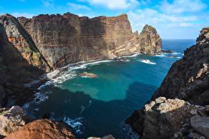 Обои для рабочего стола Португалия Море Скала Залив Madeira, Sao Lourenco Природа