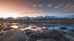 Картинки Реки Камни Горы Парк США Вечер Горизонта Grand Teton national Park, Wyoming Природа