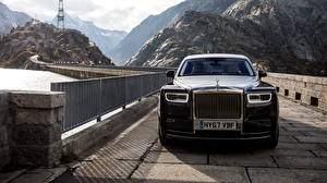 Картинка Rolls-Royce Мост Спереди Черные Металлик Phantom автомобиль