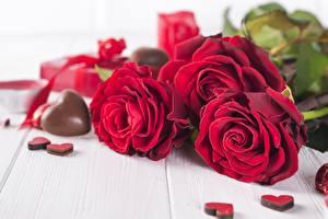 Фотография Роза День святого Валентина Шоколад Красные Сердце цветок