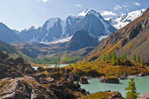 Обои Россия Гора Озеро North-Chuyskiy ridge, Altai Природа