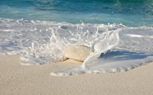 Фотография Море Камни Волны Брызги Песка Пена Природа