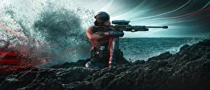 Обои Снайперская винтовка Tom Clancy's Rainbow Six: Siege Осада Снайперы Брызги Kali, NIGHTHAVEN, Operation Shifting Tides Игры
