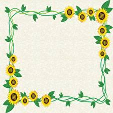Фото Подсолнечник Листья Шаблон поздравительной открытки цветок
