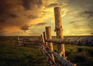 Фото Рассветы и закаты Небо Трава Забор Деревянный