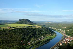 Обои Швейцария Леса Реки Сверху Lilienstein, Elbe, Saxon Switzerland national Park Природа картинки