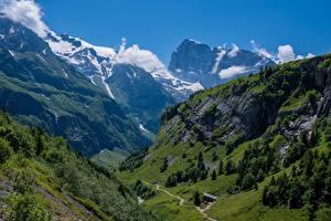 Фотография Швейцария Горы Альпы Утес Engelberg Природа