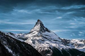 Картинки Швейцария Горы Снег Альп Matterhorn, Valais Природа