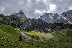 Фотографии Швейцария Горы Камни Скала Wolfenschiessen Природа