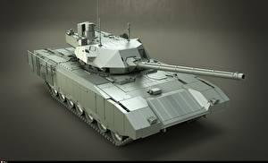 Фотография Танки Сером фоне Русские T-14 Armata 3D_Графика