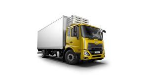 Обои для рабочего стола Грузовики Желтый Белом фоне Японские UD Trucks, Croner, cooler Автомобили