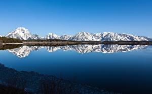 Фотографии США Парки Гора Озеро Отражение Grand Teton national Park, Wyoming Природа