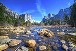 Обои Америка Парк Речка Камень Гора Лес Пейзаж Йосемити Калифорния Природа