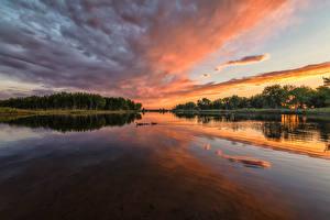 Фото США Парки Реки Рассветы и закаты Небо Chatfield State Park Colorado Природа