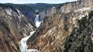 Обои США Парки Реки Водопады Йеллоустон Скале Wyoming Природа
