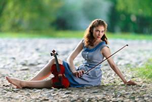 Фотографии Скрипка Сидящие Платья Ног Смотрит Боке девушка