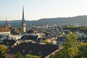 Картинки Цюрих Швейцария Церковь Дома Крыше Башни